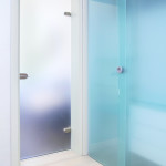 Blue glass door